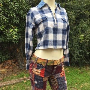 ♥️90's Flannel Denim Grunge Cropped Plaid Top